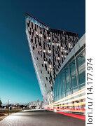 Купить «Light Art, Design Hotel Bella Sky, modern architecture, Orestad, Amager, Copenhagen, Denmark», фото № 14177974, снято 22 июля 2019 г. (c) age Fotostock / Фотобанк Лори