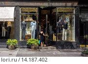 Купить «Upscale retail stores and businesses, including Ralph Lauren, on Bleecker Street in Greenwich Village in New York», фото № 14187402, снято 20 ноября 2018 г. (c) age Fotostock / Фотобанк Лори