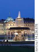Neues Schloss castle and fountain at Schlossplatz Square, Stuttgart, Baden Wurttemberg, Germany, Europe. Стоковое фото, фотограф Markus Lange / age Fotostock / Фотобанк Лори