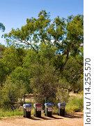 Купить «Recycle bins in the Red Centre, Australia», фото № 14255570, снято 16 октября 2018 г. (c) age Fotostock / Фотобанк Лори