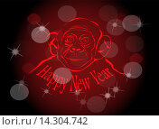 Новогодний фон с обезьяной. Стоковая иллюстрация, иллюстратор Фёдор Мешков / Фотобанк Лори