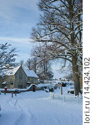 Купить «Traditional cottage during snowy weather in the village of Swinbrook, The Cotwolds», фото № 14424102, снято 21 октября 2018 г. (c) age Fotostock / Фотобанк Лори