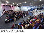 Купить «Congregation listening to the pastor during Sunday Service inside the large modern Kings Community Church.», фото № 14436026, снято 3 ноября 2013 г. (c) age Fotostock / Фотобанк Лори