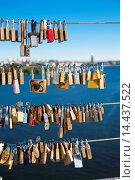 Купить «The locks on vester bridge (symbolism of faith and love) Stockholm sweden.», фото № 14437522, снято 15 августа 2013 г. (c) age Fotostock / Фотобанк Лори