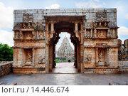 Купить «Entrance to Vijay Stambh, Chittorgarh, Rajasthan, India. A glimpse of Mirabai Temple is also seen through the gate.», фото № 14446674, снято 29 октября 2011 г. (c) age Fotostock / Фотобанк Лори
