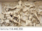 Купить «Berlin. Germany. Athena fights Alkyoneus, frieze panel from the Pergamon Altar Pergamon Museum.», фото № 14448358, снято 21 июня 2013 г. (c) age Fotostock / Фотобанк Лори