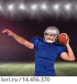 Купить «Composite image of american football player about to throw the ball», фото № 14456370, снято 19 ноября 2017 г. (c) Wavebreak Media / Фотобанк Лори