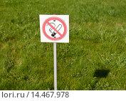 """Купить «Знак """"Курение запрещено"""" на фоне зелённой травы», эксклюзивное фото № 14467978, снято 23 сентября 2015 г. (c) Игорь Низов / Фотобанк Лори"""