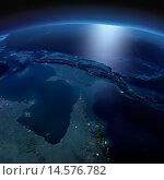 Вид на ночную Землю из космоса. Север Австралии и Папуа-Новая Гвинея. Стоковая иллюстрация, иллюстратор Антон Балаж / Фотобанк Лори