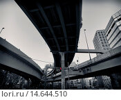 Купить «Abstract elevated highway interchange in Tokyo, Japan. Black and white.», фото № 14644510, снято 20 июня 2019 г. (c) age Fotostock / Фотобанк Лори