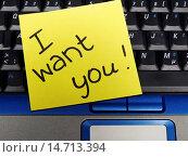 Купить «memo note on notebook, I want you», фото № 14713394, снято 30 марта 2005 г. (c) age Fotostock / Фотобанк Лори
