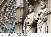 Купить «Detail of the sculptures of the main entrance of the neo-Gothic Cathedral of Barcelona - Catalonia - Catalonia - Cataluña - Spain.», фото № 14725522, снято 22 апреля 2013 г. (c) age Fotostock / Фотобанк Лори