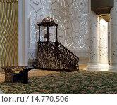 Купить «Кафедра-минбар, интерьер внутри большой белой мечети шейха Заида, Абу Даби, ОАЭ», фото № 14770506, снято 28 октября 2014 г. (c) SevenOne / Фотобанк Лори
