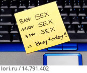 Купить «memo note on notebook, schedule sex busy today», фото № 14791402, снято 13 мая 2005 г. (c) age Fotostock / Фотобанк Лори