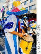 Купить «Candombe drummers in the Montevideo annual Carnaval , Candombe is a drum-based musical style of Uruguay. Candombe originated among the African population in Montevideo Uruguay.», фото № 14791526, снято 19 июня 2019 г. (c) age Fotostock / Фотобанк Лори