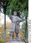 Купить «Hometown, Statue of Musashi Miyamoto, Musashi, Gorin, Bi city, Okayama Prefecture, Sanyo, Japan», фото № 14935854, снято 20 сентября 2018 г. (c) age Fotostock / Фотобанк Лори
