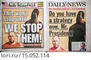 Купить «The New York Daily News and the New York Post use freeze frames on their covers on Wednesday, September 3, 2014 for their coverage of the beheading of...», фото № 15052114, снято 3 сентября 2014 г. (c) age Fotostock / Фотобанк Лори