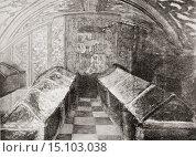 Купить «The Royal Chapel, Granada, Spain. The crypt of the Catholic Kings. From La Ilustracion Española y Americana, published 1892.», фото № 15103038, снято 3 мая 2014 г. (c) age Fotostock / Фотобанк Лори