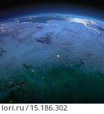 Купить «Вид на ночную Землю из космоса. Северная Африка», иллюстрация № 15186302 (c) Антон Балаж / Фотобанк Лори