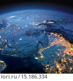 Купить «Карта Южной Азии. Пакистан, Афганистан, Индия в лунную ночь», иллюстрация № 15186334 (c) Антон Балаж / Фотобанк Лори