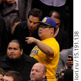 Купить «Celebrities watch the NBA playoff basketball game between the Los Angeles Clippers and Golden State Warriors at the Staples Center. The Clippers defeated...», фото № 15191138, снято 29 апреля 2014 г. (c) age Fotostock / Фотобанк Лори