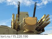Купить «Панцирь-С1 - российский самоходный зенитный ракетно-пушечный комплекс (ЗРПК) наземного базирования на Международном авиационно-космическом салоне МАКС-2015», фото № 15220190, снято 30 августа 2015 г. (c) Игорь Долгов / Фотобанк Лори