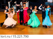 Купить «couple dancing slow waltz», фото № 15221790, снято 23 февраля 2019 г. (c) age Fotostock / Фотобанк Лори