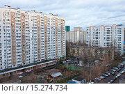 Купить «Панельные жилые дома. Двор», фото № 15274734, снято 7 декабря 2015 г. (c) Victoria Demidova / Фотобанк Лори
