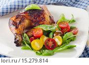 Купить «Roasted chicken leg with fresh vegetables salad.», фото № 15279814, снято 18 августа 2015 г. (c) Tatjana Baibakova / Фотобанк Лори