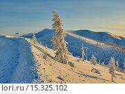 Закат на перевале. Зима. Вечер. Магаданская область. Колыма. Стоковое фото, фотограф Юрий Слюньков / Фотобанк Лори