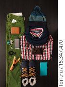 Набор мужских вещей для зимы: необходимые вещи на каждый день. Стоковое фото, фотограф Виктор Колдунов / Фотобанк Лори