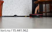 Купить «Котенок играет с роботом-пылесосом», видеоролик № 15441962, снято 5 декабря 2015 г. (c) Володина Ольга / Фотобанк Лори