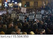 Купить «On 7 jan 2015, twenty thousand people demonstrated in Amsterdam against the killing of of the ten cartoonists of the french magazine Charlie Hebdo on 6 jan 2015.», фото № 15504950, снято 8 января 2015 г. (c) age Fotostock / Фотобанк Лори