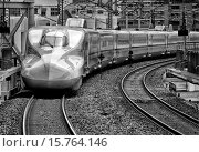Купить «Shinkansen arriving from Okayama to Shin-Osaka train station, Japan.», фото № 15764146, снято 31 марта 2014 г. (c) age Fotostock / Фотобанк Лори