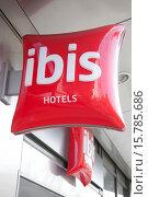 Купить «Ibis Hotels Sign on Building Facade.», фото № 15785686, снято 23 февраля 2001 г. (c) age Fotostock / Фотобанк Лори