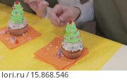 Купить «Кексы. Две девочки украшают кексы», видеоролик № 15868546, снято 5 декабря 2015 г. (c) Алексндр Сидоренко / Фотобанк Лори