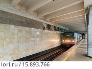 Купить «Nizhny Novgorod, RUSSIA - November 02.2015. The interior of subway station Avtozavodskaya», фото № 15893766, снято 4 ноября 2015 г. (c) Володина Ольга / Фотобанк Лори