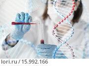 Купить «close up of scientist with tube making test in lab», фото № 15992166, снято 9 декабря 2014 г. (c) Syda Productions / Фотобанк Лори