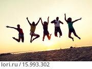 Купить «smiling friends dancing and jumping on beach», фото № 15993302, снято 3 августа 2014 г. (c) Syda Productions / Фотобанк Лори