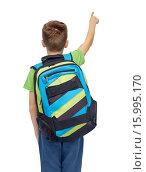 Купить «happy student boy with school bag», фото № 15995170, снято 6 ноября 2015 г. (c) Syda Productions / Фотобанк Лори