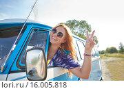 Купить «smiling young hippie woman driving minivan car», фото № 16005818, снято 27 августа 2015 г. (c) Syda Productions / Фотобанк Лори