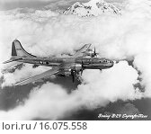 Купить «United States: c. 1944. A U. S. Air Force Boeing B-29 Superfortress bomber flying above the clouds and mountains.», фото № 16075558, снято 10 января 2020 г. (c) age Fotostock / Фотобанк Лори