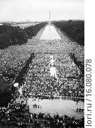 Купить «Washington, D.C.: August 28, 1963.The civil rights march on Washington showing crowds of people on The Mall, starting at the Lincoln Memorial, going around...», фото № 16080078, снято 16 февраля 2019 г. (c) age Fotostock / Фотобанк Лори