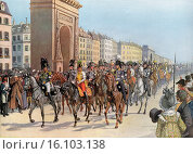 Capitulation of Paris on 31 March 1814, Frederick William III of Prussia and Alexander I of Russia lead their troops through Paris, German Wars of Liberation... (2015 год). Редакционное фото, фотограф Heinz-Dieter Falkenstein / age Fotostock / Фотобанк Лори