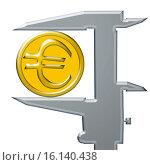 Купить «Желтая монета евро и штангенциркуль», иллюстрация № 16140438 (c) Сергеев Валерий / Фотобанк Лори