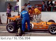 Canadian GP, Mont Tremblant, 20th September 1970. Andrea de Adamich, McLaren Alfa Romeo, pits scene, retired. Стоковое фото, фотограф GP Library \ UIG / age Fotostock / Фотобанк Лори