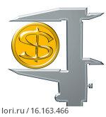 Купить «Желтая монета доллар и штангенциркуль», иллюстрация № 16163466 (c) Сергеев Валерий / Фотобанк Лори