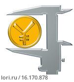Купить «Желтая  восточная  монета  и штангенциркуль», иллюстрация № 16170878 (c) Сергеев Валерий / Фотобанк Лори