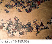 Detail of part of a folding screen which depicts the siege of Osaka Castle (1615). The horned helmet indicates the figure of Honda Tadatome, one of Ieyasu... Стоковое фото, фотограф Werner Forman \ UIG / age Fotostock / Фотобанк Лори