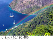 Купить «Bay with yachts at the foot of Petit Pition seen from above with rainbow, St Lucia, Windward Islands, Lesser Antilles, Eastern Caribbean Islands, West Indies, Americas.», фото № 16196486, снято 26 декабря 2014 г. (c) age Fotostock / Фотобанк Лори